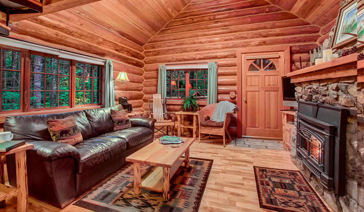 stunning log cabin living room | Deep Forest Cabins at Mt Rainier – Private Cabins in 20 ...